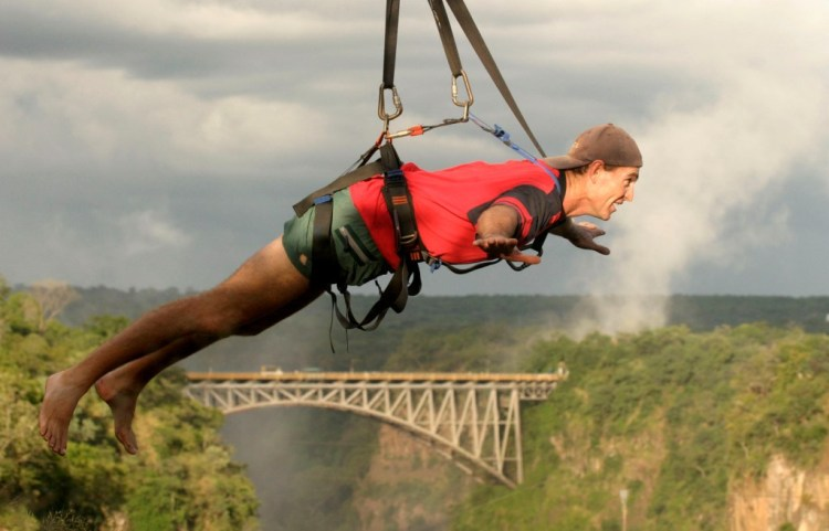 Victoria Falls Flying Fox adrenaline activity over the Zambezi River gorge - Zimbabwe