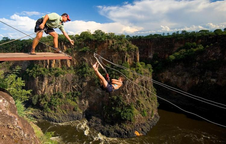 The insane gorge swing at Victoria Falls, Zimbabwe