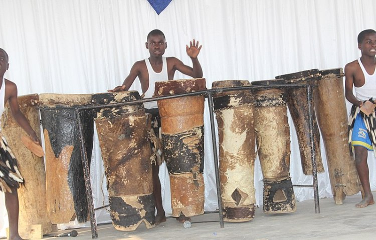Young men playing ngoma drums in Zimbabwe