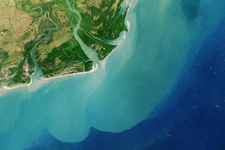 Zambezi Delta in Mozambique lets out into the Indian Ocean