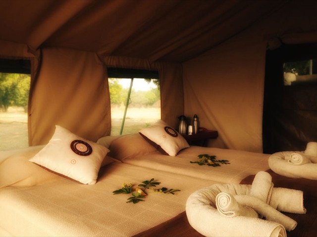Inside Zambezi Expeditions tent, Mana Pools