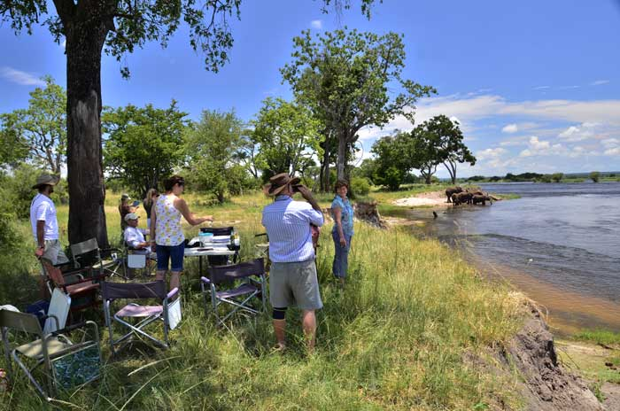 Picnicking on the banks of the Zambezi River