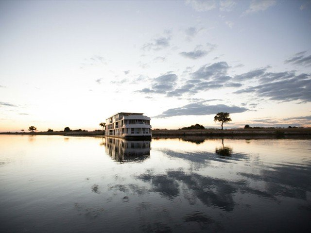 Gorgeous view of the Zambezi Queen sailing on the Chobe River - Namibia, Botswana