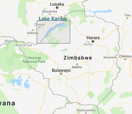 Lake Kariba in relation to the area that Zimbabwe covers