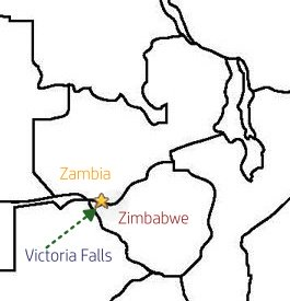 The Victoria Falls between Zimbabwe and Zambia