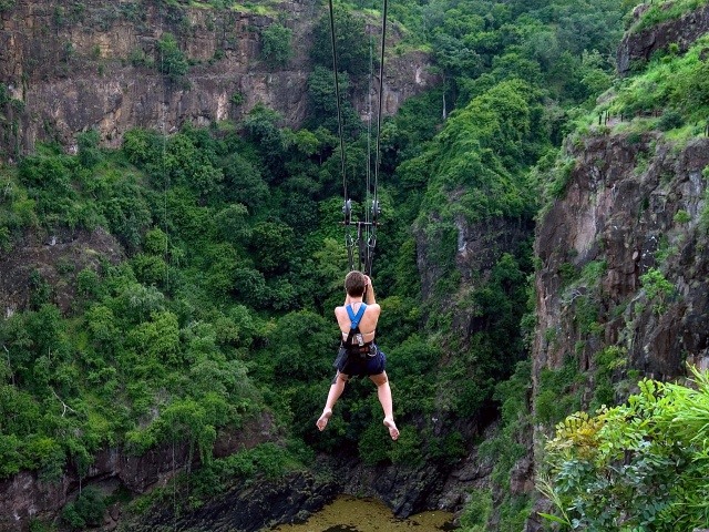 The Foofie Slide or Zip Line over the Zambezi River gorge in Victoria Falls, Zimbabwe