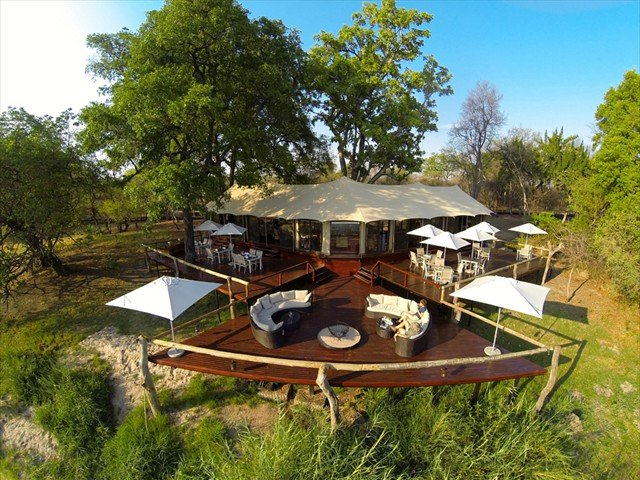 The main deck at Zambezi Sands Camp as seen from above