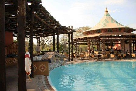 The poolside and bar at Avani Victoria Falls Resort/Zambezi Sun - Victoria Falls, Livingstone, Zambia