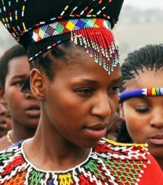 Zulu woman wearing beads