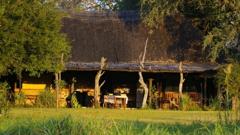 Main lodge with dining area - Zambezi Lodge for sale in Zambia