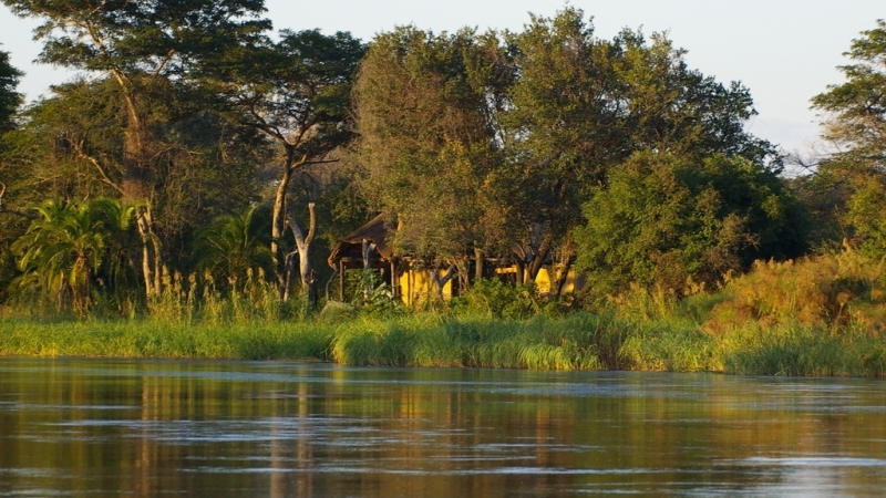 Lodge for sale in Zambia, seen from the Zambezi River