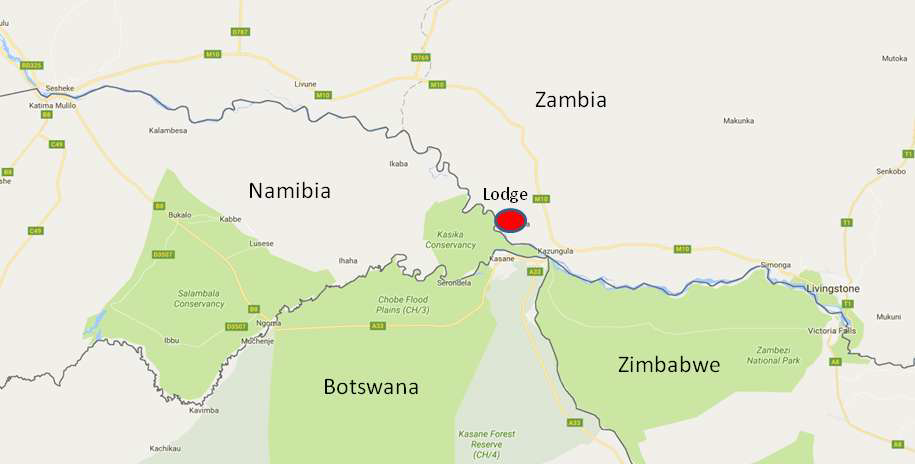 Map showing location of the Zambezi lodge for sale in Zambia