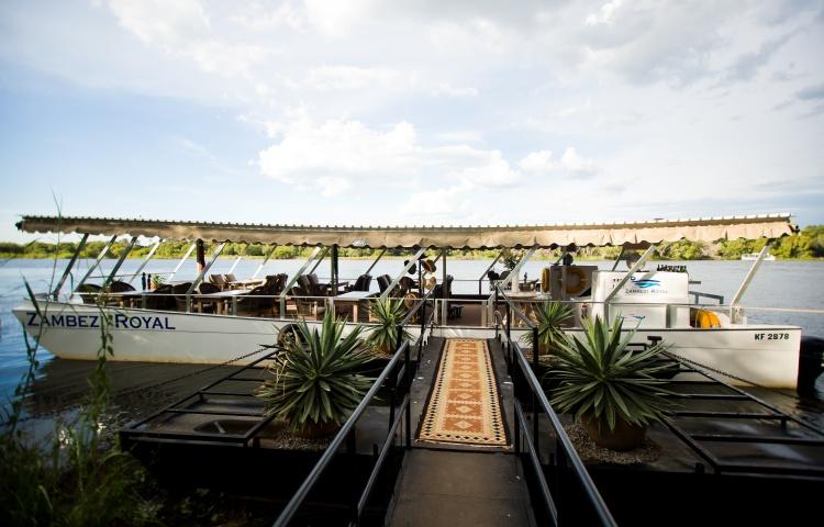The Zambezi Royal docked in Victoria Falls, Zimbabwe