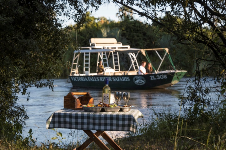 An island picnic awaits on the Zambezi River