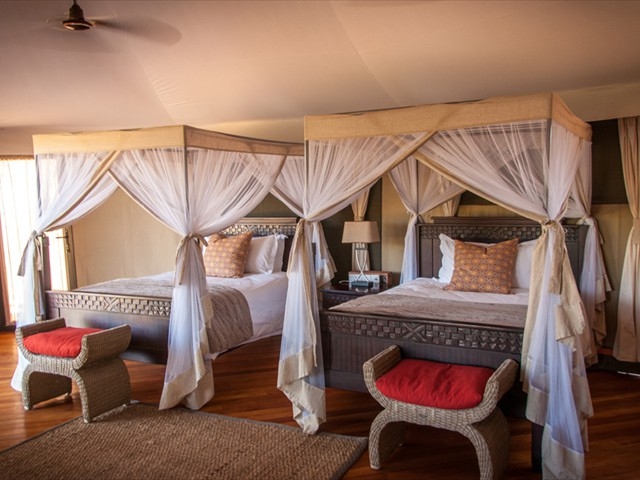 A twin room at Zambezi Sands Camp in Zimbabwe