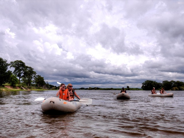 Canoe safaris on the Zambezi River near Victoria Falls, Zimbabwe