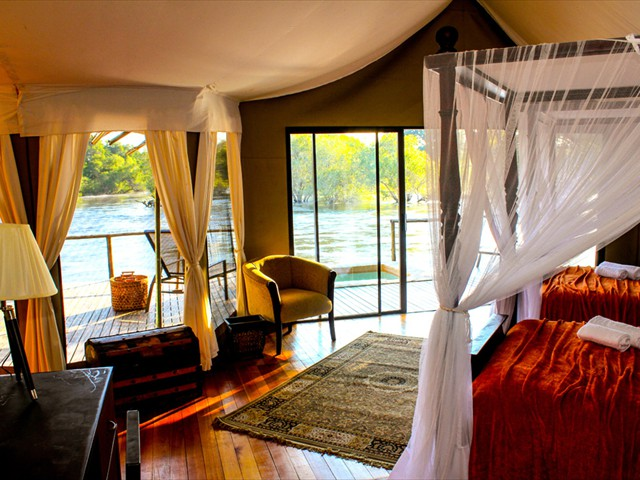 Each room has a view of the Zambezi River