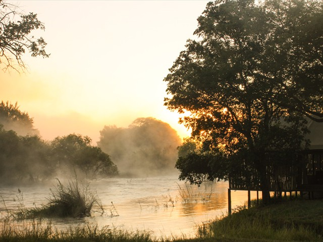 A sunrise shot of the Zambezi River from the lodge
